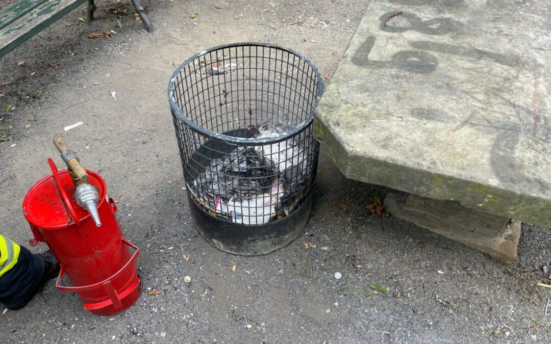 Feuer – brennender Abfallbehälter